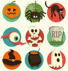Set of Halloween cartoon icons vector image