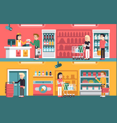 Shopping people and counter in super market vector