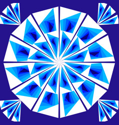 Simple geometric tile composed of white and blue vector