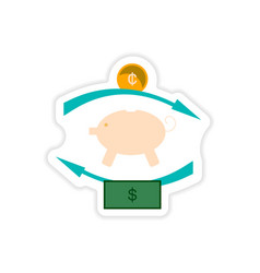 Stylish sticker on paper piggy bank and money vector