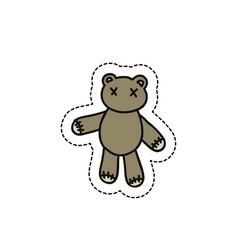 Teddy bear doodle icon vector