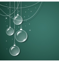 Transparent glass decorations on green background vector image