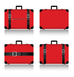 Travel suitcase set in red vector