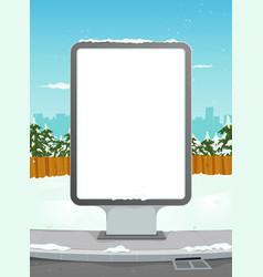 white billboard on winter urban background vector image vector image