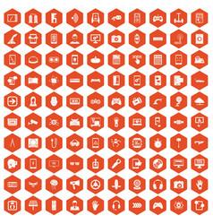 100 gadget icons hexagon orange vector