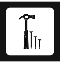 Hammer and nails icon simple style vector