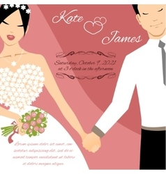 Wedding couple for invitation card vector