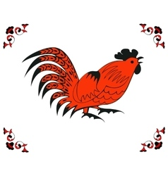 Red cock in a folk style vector