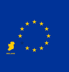Eu flag with ireland country european union vector