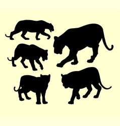Puma and panther animal silhouette vector