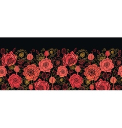 Red and black poppy flowers horizontal seamless vector