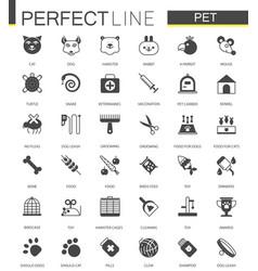Black classic web pet shop icons set vector
