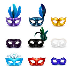 masquerade mask realistic icon set vector image