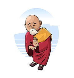 Buddhist monk in mental concentration vector