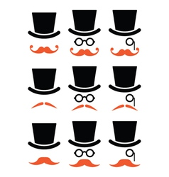 Ginger mustache or moustache with hat and glasses vector image