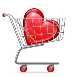 Love heart in shopping cart vector