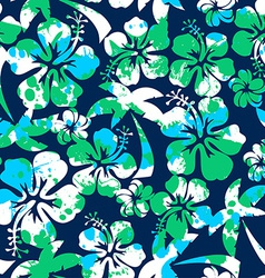 Hibiscus and palm seamless pattern vector