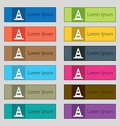 Road cone icon sign set of twelve rectangular vector
