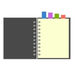Blank grey notebook with colorful bookmarks vector