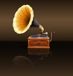 Retro grammophone with record vector