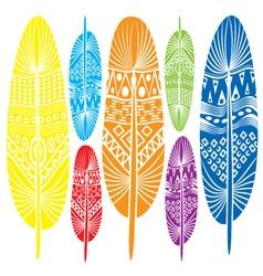 Stylized decorative feathers vector image