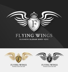 Shield and wings logo template vector