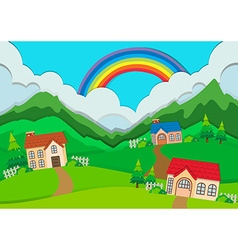 Countryside scene with houses on hills vector