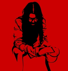 Zombie woman silhouette on a red background vector
