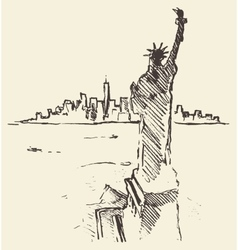 Sketch new york city skyline statue liberty drawn vector