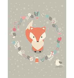 Cute christmas baby fox with floral decoration vector