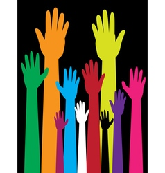 Colorful raised hands2 vector