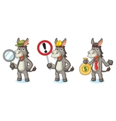 Gray donkey mascot with money vector