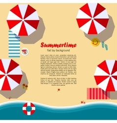 Summertime flat lay background vector