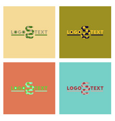 Assembly flat icons nature snake logo vector