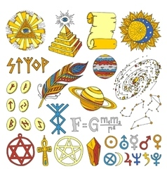 Astrology esoteric hand drawn set vector image