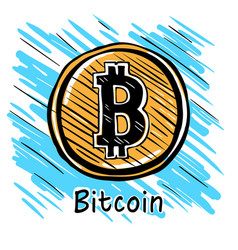 bitcoin hand drawn sketc vector image