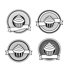 Black and white retro cupcake stamps vector