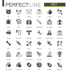 black classic web pet shop icons set vector image vector image