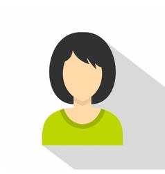 Brunette woman icon flat style vector