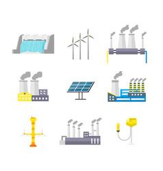 cartoon energy generation color icons set vector image vector image