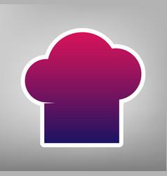 Chef cap sign purple gradient icon on vector