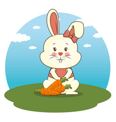 Cute adorable bunny animal cartoon vector