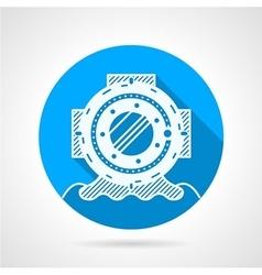 Diver-helmet flat round icon vector