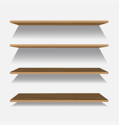 Empty wooden shelf isolated on checkered vector