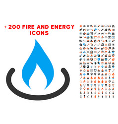 Fire place icon with bonus fire clipart vector