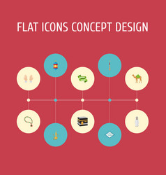 Flat icons mosque mecca pitcher and other vector