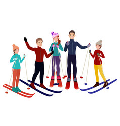 group of skiers in cartoon style vector image vector image