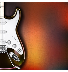 Grunge background with electric guitar on brown vector
