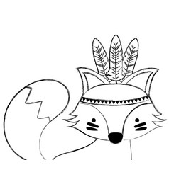Grunge cute fox animal with feathers decoration vector
