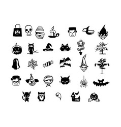 halloween icons hand drawn doodle vector image vector image
